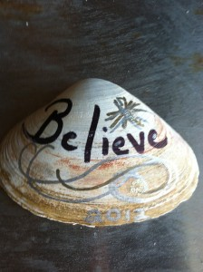 This is the painted clam shell an artist left at all the business properties in town.  I still believe … Highlands and my shop will be rebuilt.